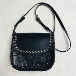 Zara Black Leather Purse Crossbody Embossed NEW